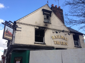 The Railway Tavern in the aftermath of an arson attack.