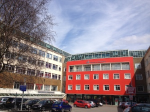 The University of Bedfordshire's jaunty façade at Park Square.