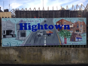 'Hightown', as conceived by its mural: an oddly spacious, rural idyll.