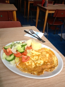 Cheese omelette and salad at the Scandi. Deeply calorific but delicious.