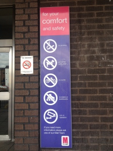 We are being filmed 'for our comfort and safety', but no mention of a ban on photography.