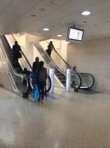 An instance of the escalators working in both directions.