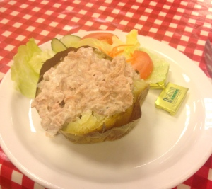 An acceptable jacket potato with tuna mayonnaise and salad at Tim's Kitchen.