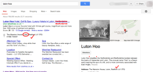 Image showing results of a Google search for Luton Hoo.